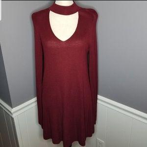 Olivaceous | Choker Style Sweater Dress